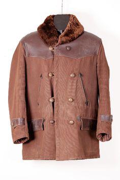 1950's french leather & canvas mackinaw jacket, back belt, reinforcements