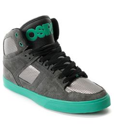 b749cc57039c Osiris NYC 83 Vulc Grey   Green Suede High Top Shoe mens 6 Me Too Shoes