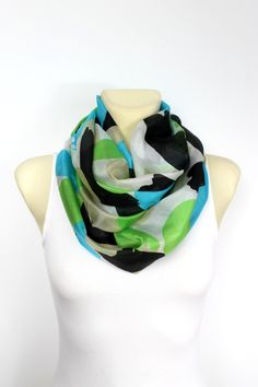 Silk Infinity Scarf Silk Circle Scarf Silk Loop Scarf Silk Geometric Scarf Printed Silk Scarf Birthday Gift Spring Summer Celebrations