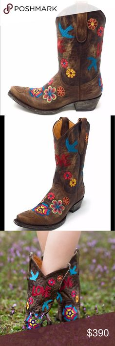 {OLD GRINGO} Checruda Short Boots I am a top rated seller, you can buy from me with confidence!  You are viewing a cool and funky pair of Old Gringo short boots.  The embroidery detail with flowers, birds, Love is the perfect  addition for any western or BOHO outfitter.  These have been worn only a handful of times-max.  They are in excellent, like new condition.  I wear a 7.5 and I can wear these boots, don't be mislead by size.  Any closet would be proud to have these!! Old Gringo Shoes
