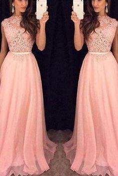 Long prom dress,pink lace long prom gowns,fashion evening dress,formal dress for teens