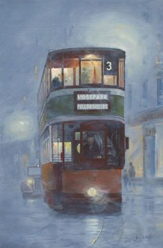 A Glasgow Tram in Pea Soup Fog. Have actually travelled on a number three tram as a boy. Glasgow Scotland, Scotland Travel, Edinburgh, Scotch Image, Bus Art, Old Tractors, City Art, British Isles, Pictures To Paint