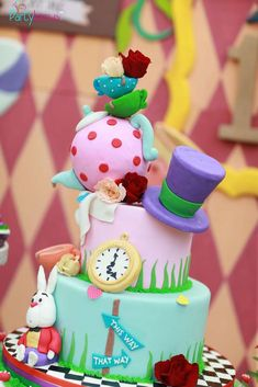 Loving this amazing Alice In wonderland Birthday cake!!! See more party ideas and share yours at CatchMyParty.com