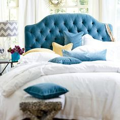 Love this head board, turquoise tufted Camden headboard by Ballard
