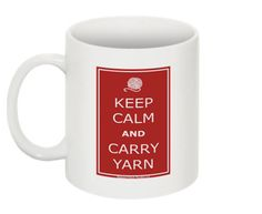Keep Calm and Carry yarn ceramic coffee mug by slippedstitchstudios - $15.00
