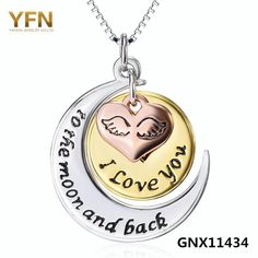 "GNX11434 New Arrival ""I love you to the moon and back"" Heart Pendant 925 Sterling Silver Fashion Necklace For Women Wholesale"