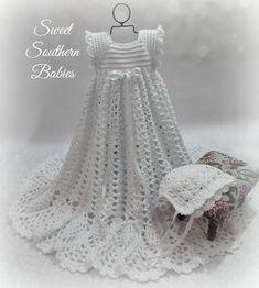Baptism Dress  Snow White with White ribbon  Bonnet