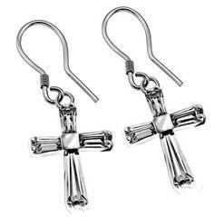 Clear Prism Cross Earrings