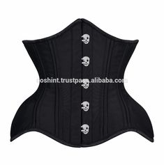 COSH INTL: Curvy Waist Training Custom Made Double Steel Boned Corset In Polyester Satin With Skull Busk Supplier #cosh #international #underbust #curvy #waisttraining #doublesteelboned #polystersatin #skullbusk #gothiccorset #supplier