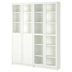 IKEA BILLY/OXBERG Bookcase with panel/glass doors White/glass 160 x 202 x 30 cm Adjustable shelves; adapt space between shelves according to your needs. Bookcase With Glass Doors, Glass Cabinet Doors, Glass Shelves, Bookcase White, Wooden Bookcase, Book Shelves, Libreria Billy Ikea, Billy Oxberg, Billy Regal