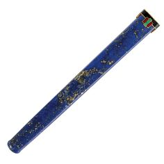 Art Deco Lapis, Gold and Enamel Cigarette Holder, Cartier, Paris   The tapered lapis cigarette holder tipped by a geometric plaque applied with green, red and black enamel, signed Cartier, Paris, with maker's mark and French assay mark, slightly obscured, circa 1920, minor enamel loss. Length 4 1/8 inches.