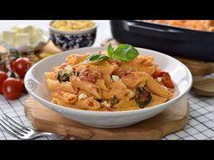 Paste cu branza feta si rosii cherry la cuptor | JamilaCuisine - YouTube Feta, Easy Healthy Recipes, Yummy Recipes, Thai Red Curry, Potato Salad, Cookie Recipes, Yummy Food, Chicken, Cooking
