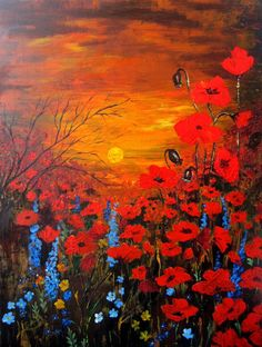 Poppy Field Painting Acrylic Original - Ready To Hang - Sunset With Poppies