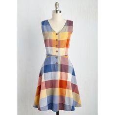 Mata Traders 60s Mid-length Sleeveless A-line Swap Meet Sweetheart... (€91) ❤ liked on Polyvore featuring dresses, plaid dress, cotton dresses, vintage dresses, tartan dress and a line dress
