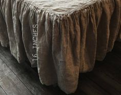 BED RUFFLE OF PURE WASHED LINEN. COLOR: Natural gray MODEL: dust ruffle MATERIAL: 100% Linen INCLUDED: 1 x dust ruffle  This shabby and elegant bed skirt is a unique item that we have in our Len.Ok shop and you need to have in your contemporary of french style bedroom! It is so light and fragile. Just imagine this wrinkled natural gray ruffles: the color and texture come so luxurious and antique. This oatmeal color has creamy beige and sage hues. The bed dust skirt made of softened 100%…