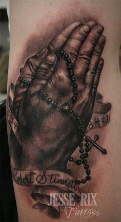 Jesse Rix Tattoos : Tattoos : Black and Gray : Praying Hands