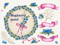 bluberry clipart, watercolor bluberry, wedding clipart