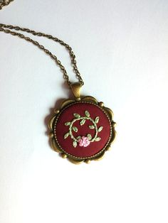 Embroidery art jewelry Hand embroidered flower by RedWorkStitches