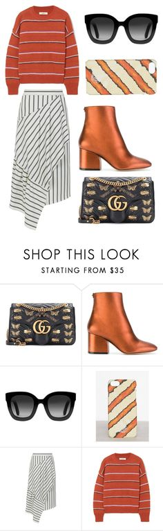 """""""Orange crush stripes"""" by ciliasl ❤ liked on Polyvore featuring Gucci, Salvatore Ferragamo, By Malene Birger, TIBI, Étoile Isabel Marant, stripesonstripes and PatternChallenge"""