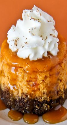 Mini Pumpkin Cheesecakes With Gingersnap Crust ~ They have lots of delicious pumpkin taste and a fun flavor spin thanks to a gingersnap crust.