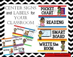Center Signs and Labels from Resoure Ranch on TeachersNotebook.com -  (26 pages)  - Classroom Center signs can be used for display at center areas or in pocket chart with group numbers or names following each. Center labels can replace signs if your space is limited or can be placed on baskets (or any container) which hold the supplies f