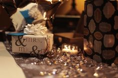 #reception #navywedding #weddingreception #bluelights #weddingdecor