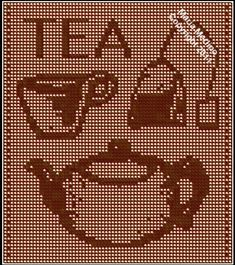 This is a Free filet crochet curtain pattern with classic tea icons: a  pot, a cup, a tea bag. Great for your next tea party! Made in t...