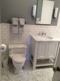 Kingston Ny Subway Tile With Grey Grout Paint Color White Carrera Marble
