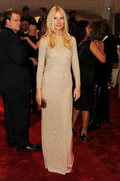 Gwyneth Paltrow Nude gown | Gwyneth Paltrow in a nude long sleeved Stella McCartney column dress