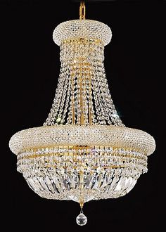 Bagel Design 14-Light 28'' Gold or Chrome Chandelier Dressed with European or Swarovski Crystals SKU# 10169