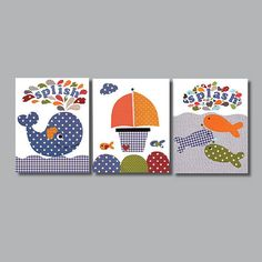Nautical Nursery art prints baby nursery by 3000yardsofthread, $42.00