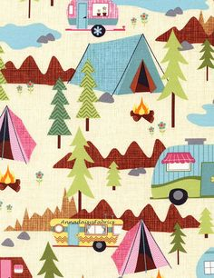 Camping Fabric, Timeless Treasures Fun-C2324 Camping Scenic, Vintage Campers, Summer Fabric, Travel Trailer, Tents, Campfire, Retro Campers