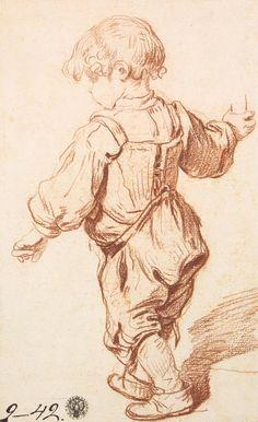 Jean-Baptiste Greuze – Study of a Boy Walking, 1765/69, red chalk, 29.1x19 cm | Hermitage Museum, St. Petersburg