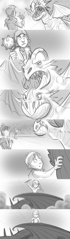 HOW TO TRAIN YOUR DRAGON Storyboard - Looking at the change from a low angle to a high angle camera. This changes Hiccups dynamics as he goes from being the powerless character to the powerful character. Might employ this technique at the end of my film when he realises the shadow is his own