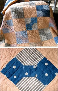 """Vintage Bow Tie quilt, posted by Elizabeth at Pieceful Life: """"It has been hand quilted in a beautiful crosshatch on the bow ties and a pretty circular feather motif on the solid melon squares.""""  Elizabeth also has posted a bow tie block tutorial"""