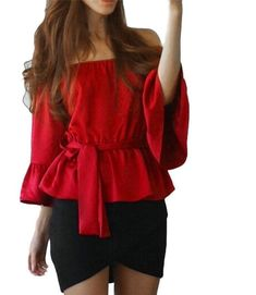 47380fa518a7d Flare Sleeve Summer Blouse 2017 Women Casual Loose Off Shoulder Tops Shirt  Blusa Half Sleeve Top Blouse With Belt