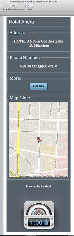 If you share your location within Parkbud with a friend - they get this nice html email with map and clickable details  iPhone, design, UI, app, mobile, apple, UX, ios, inspiration, http://www.parkbud.com