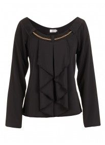 Chain blouse with long sleeves Black