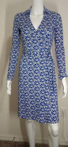 NWT Diane von Furstenberg DVF Wrap Dress New Jeanne Two Lace Petals Blue Size 0 #DianevonFurstenberg #WrapDress #WeartoWork