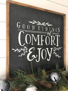 2'x2' Good Tidings of Comfort and Joy Modern | Etsy #holiday #woodsign #christmas #sign