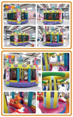 AQ01476(dia.5*4.7m/dia16.4'*15.42') Merry-go-round bouncer is so beautiful. Kids can jump and ride on the animal as happy as they want! It is a great inflatable toy for kids.