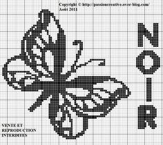 Grille gratuite point de croix : papillon couleur noir