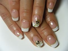 Gel Nail Simple French with accent design by NEGRIL Nail Art, via Flickr