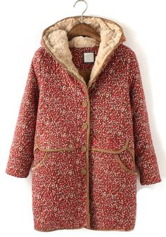 ++ red floral long sleeve cotton blend padded coat