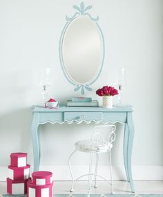 DIY French mirror. In a house full of boys this would be such a cute spare/guest room decor