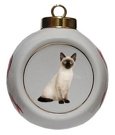 Siamese Cat Porcelain Ball Christmas Ornament