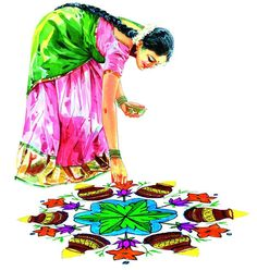 Lady decorating kolam-చిత్రలేఖనం Indian paintings Indian Women Painting, Indian Art Paintings, Indian Folk Art, Indian Artist, Figure Sketching, Figure Drawing, Art Sketches, Art Drawings, Indian Drawing