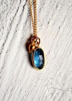 Towards the sea...Rose-cut London Blue topaz bezel necklace by Kahili Creations.