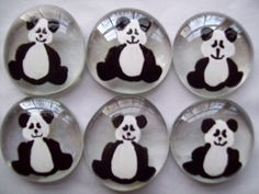 Handpainted large glass gems  Panda bear party favors art. $5.00, via Etsy.