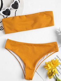 Textured Bandeau Bikini Set - School Bus Yellow S